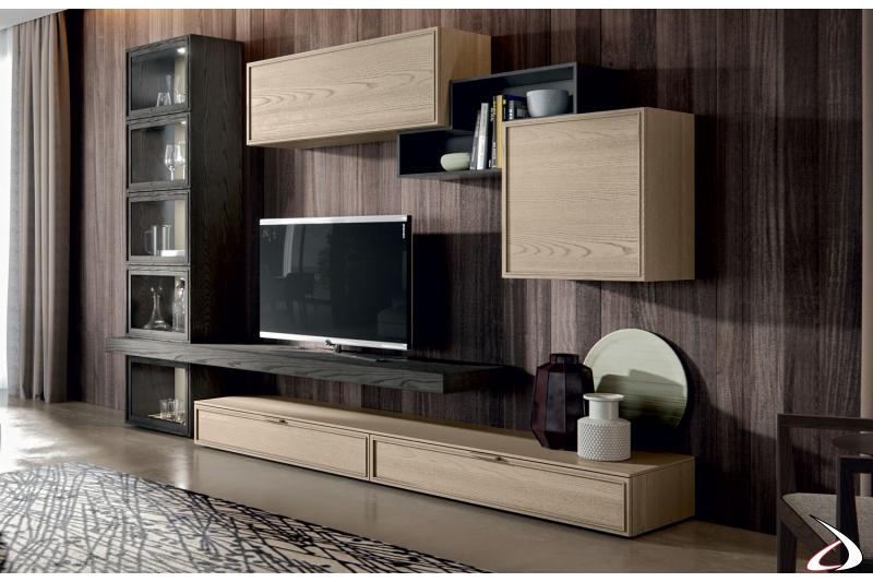 Composizione soggiorno in legno moderno con vetrina