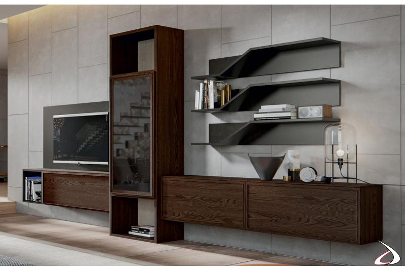 Soggiorno moderno in legno massello con mensole sagomate
