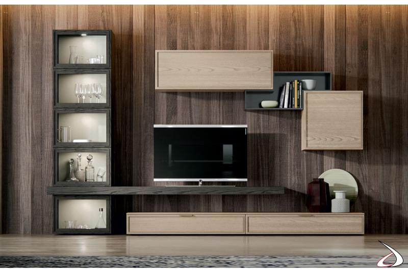 Mobile soggiorno moderno in legno con vetrina