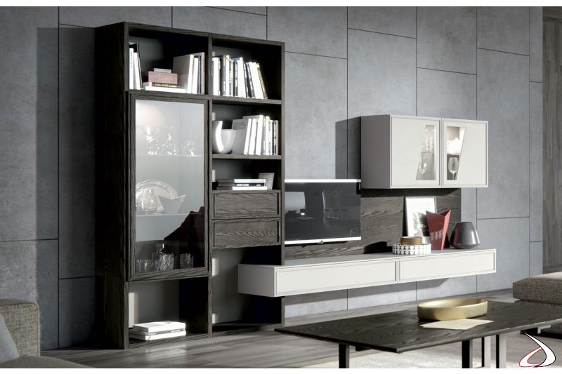 Mobile soggiorno in legno massello con libreria