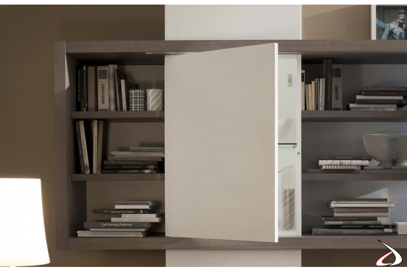 Wall unit with push pull opening