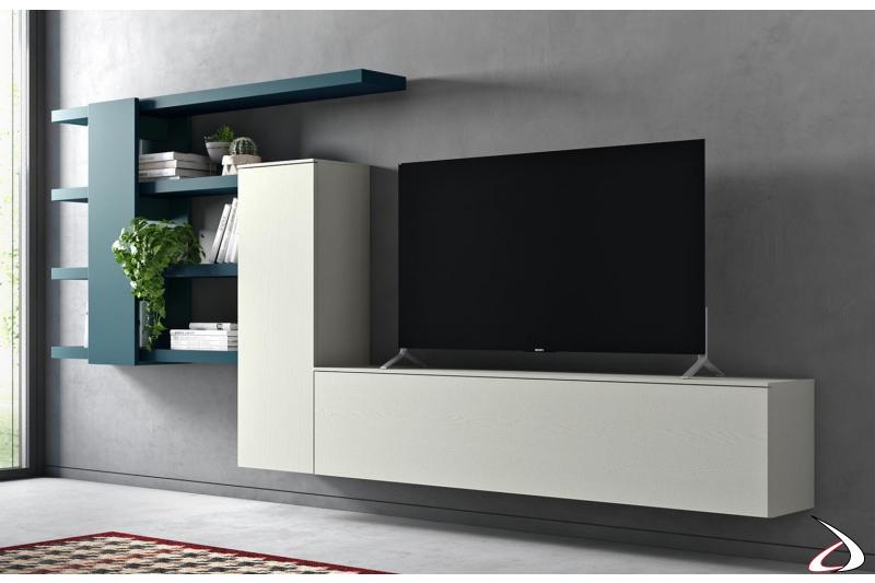 Parete soggiorno sospesa di design in legno frassino e laccato opaco