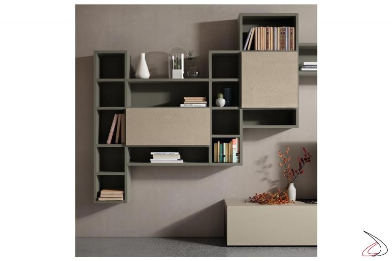 Parete soggiorno moderna componibili con base cassetti