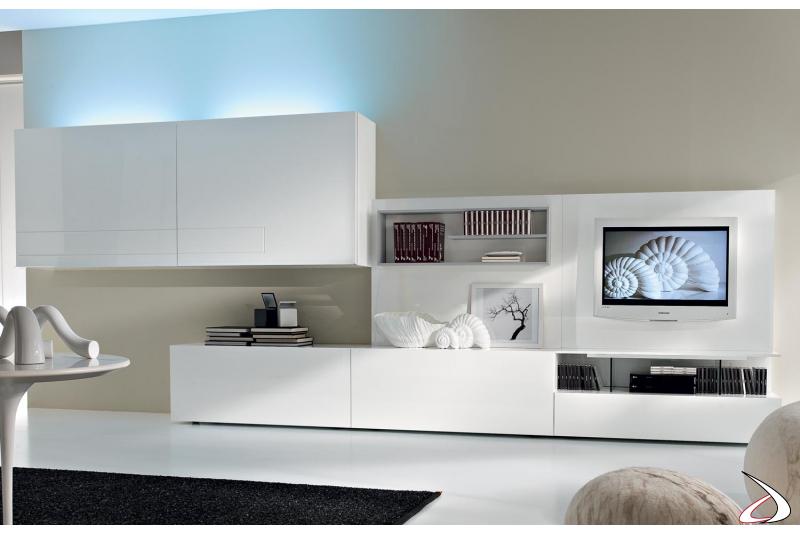 Mobile soggiorno design con illuminazione a neon