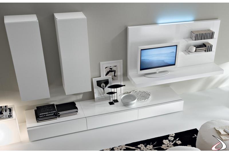 Mobile soggiorno design in legno componibile
