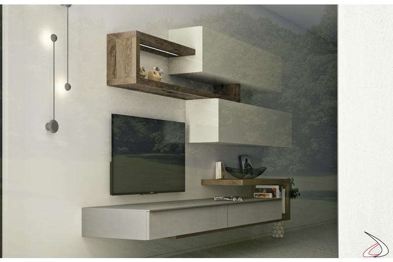Parete attrezzata sospesa di design in legno con basi in cemento