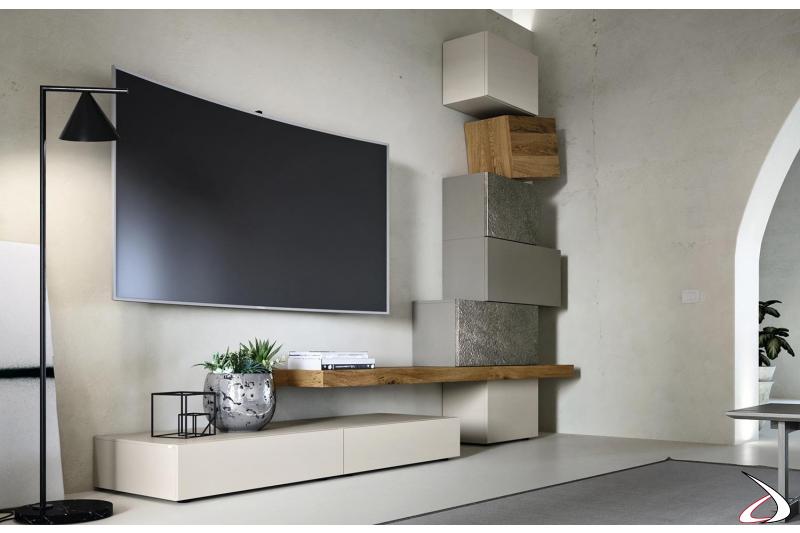 Mobile soggiorno moderno in legno e pensili con ante in pietra