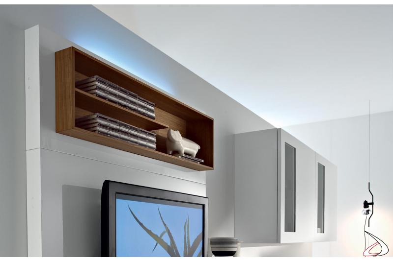Parete soggiorno moderna in legno porta tv
