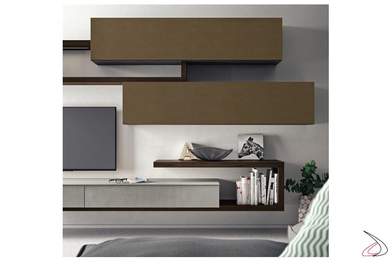 Mobile soggiorno moderno con pensili metallizzati e base in cemento