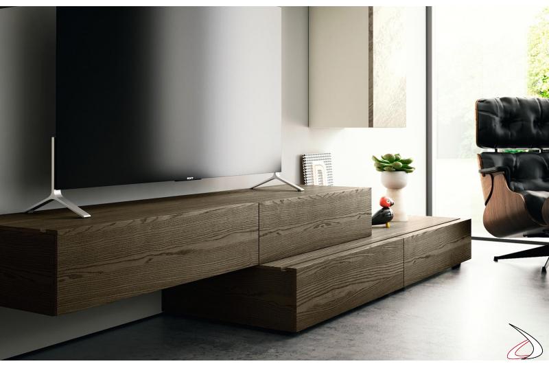 Parete soggiorno moderno con base cassetti e base con ante a ribalta