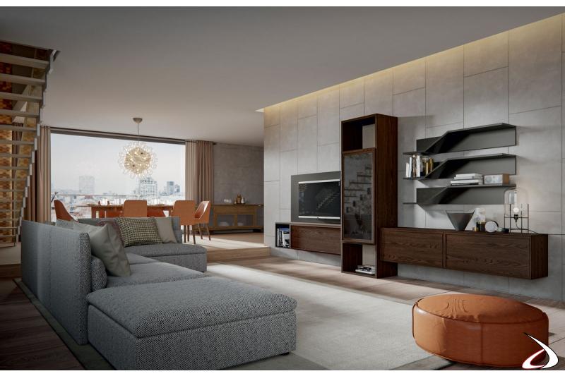 Zona living arredada con mobile soggiorno in legno massello