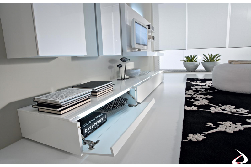 modern fully equipped wall system with folding doors