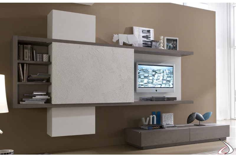 Modular living room with TV cover sliding door