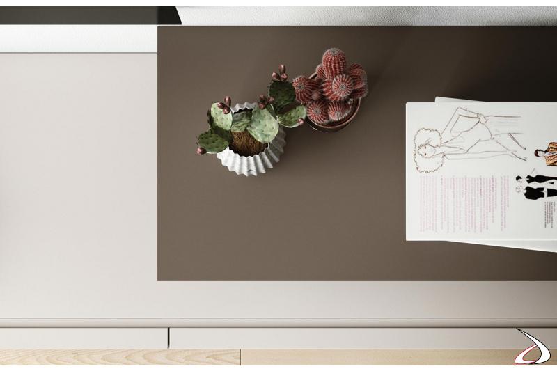 Soggiorno moderno con base cassetti in legno laccato opaco