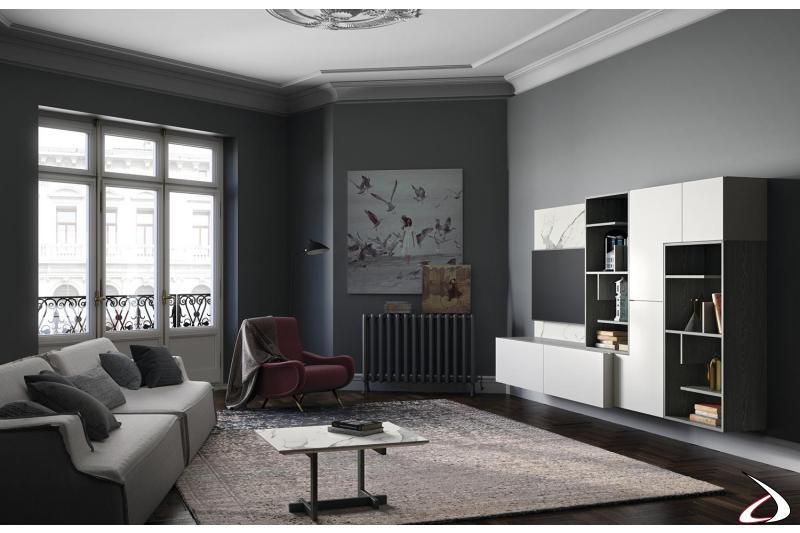Arredo soggiorno stile inglese con parete attrezzata sospesa