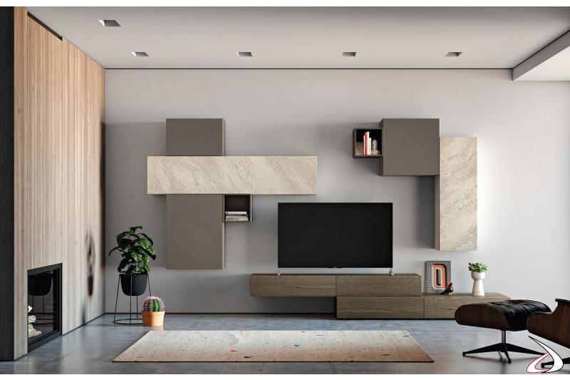 Arredo soggiorno elegante e chic con parete attrezzata di design