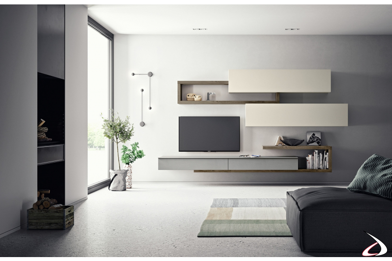 Zona living di design con parete attrezzata sospesa piccola