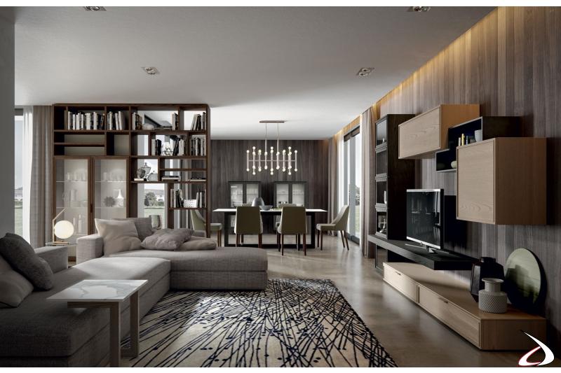 Arredo zona living di design in legno