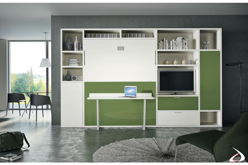 Composizione soggiorno con letto a scomparsa e tavolino