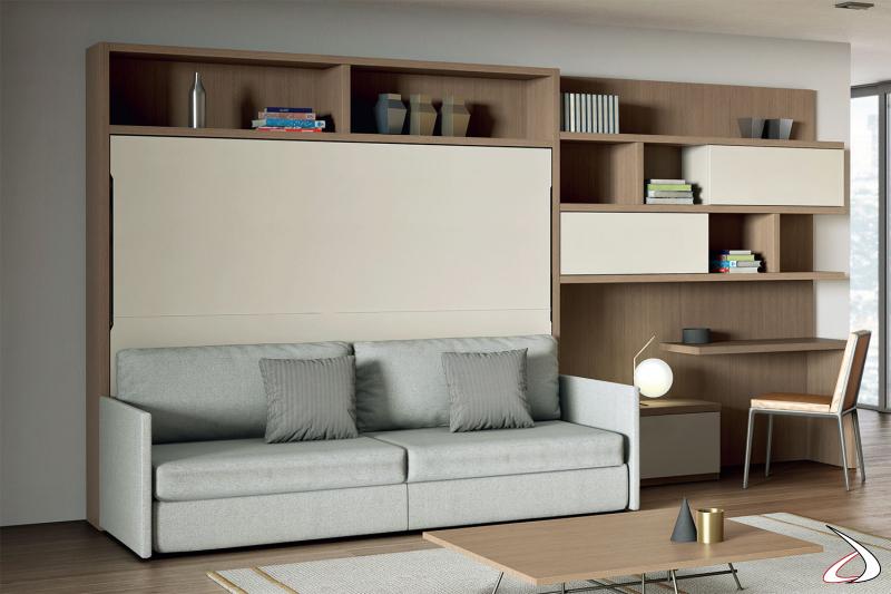 Letto a scomparsa per mobile soggiorno con divano imbottito con cassetti estraibili
