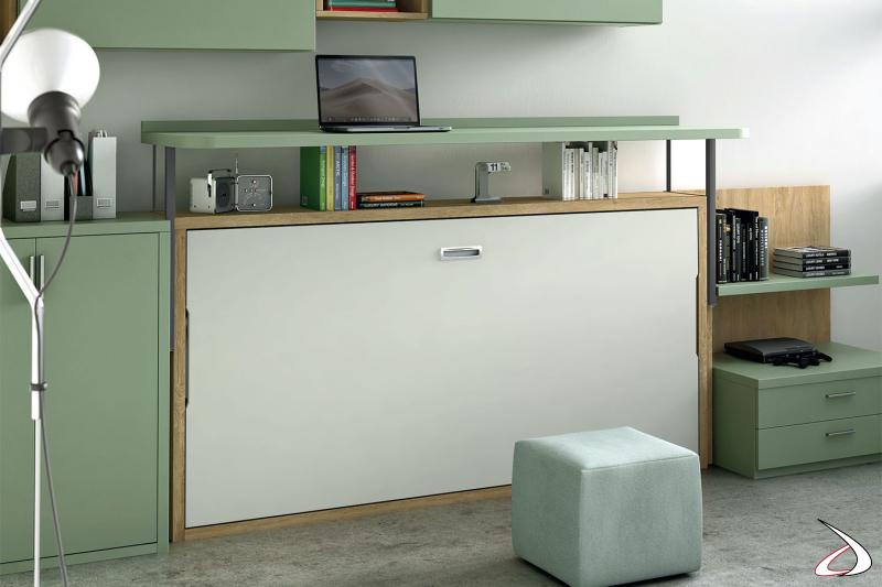 Letto a scomparsa singolo ad apertura orizzontale con scrivania movibile