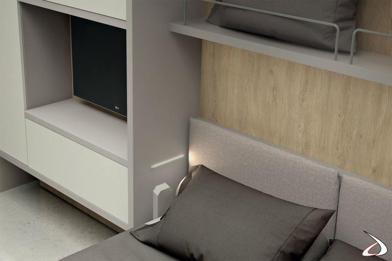 Letto 1 piazza e mezza trasformabile ad apertura verticale con luci led interne