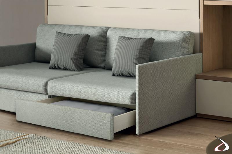 Letto a scomparsa da soggiorno con divano imbottito con cassetti estraibili