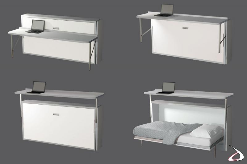 Letto a scomparsa singolo con scrivania movibile per cameretta bambini