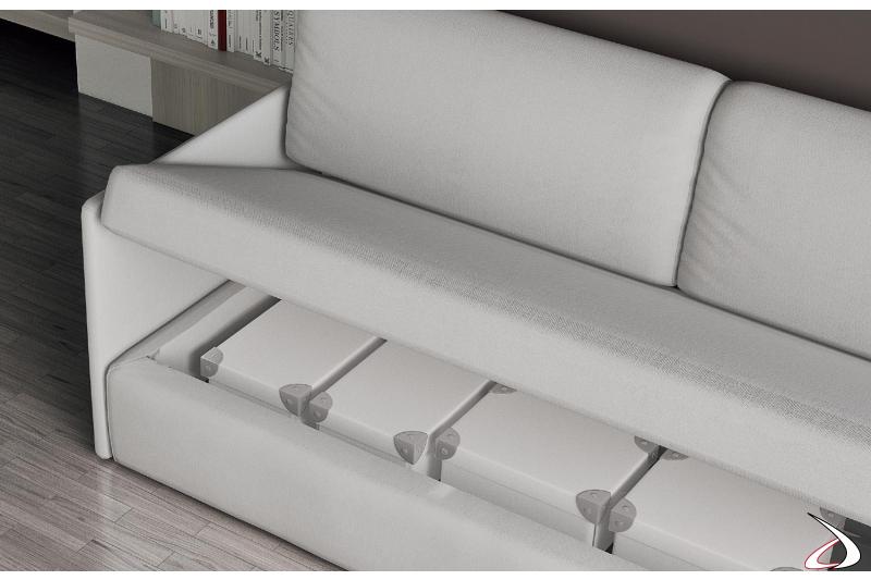 Divano contenitore con letto trasformabile