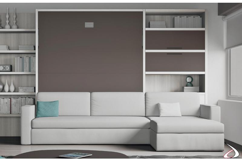 Composizione soggiorno con divano e letto a scomparsa