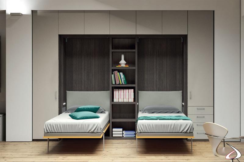 Doppio letto singolo trasformabile ad apertura verticale con armadio a ponte