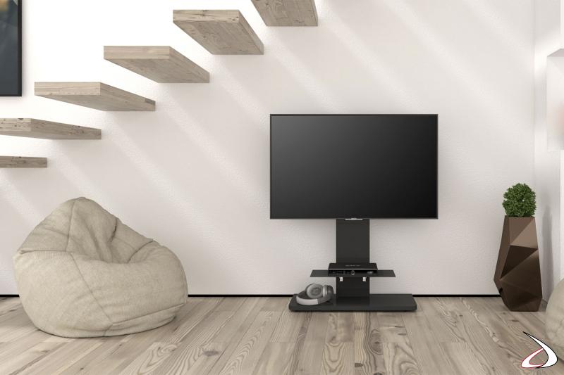 Colonna moderna porta TV nera con ripiano e ruote