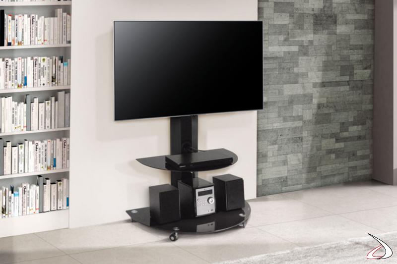 Porta tv per salotto o ufficio con ripiani e ruote