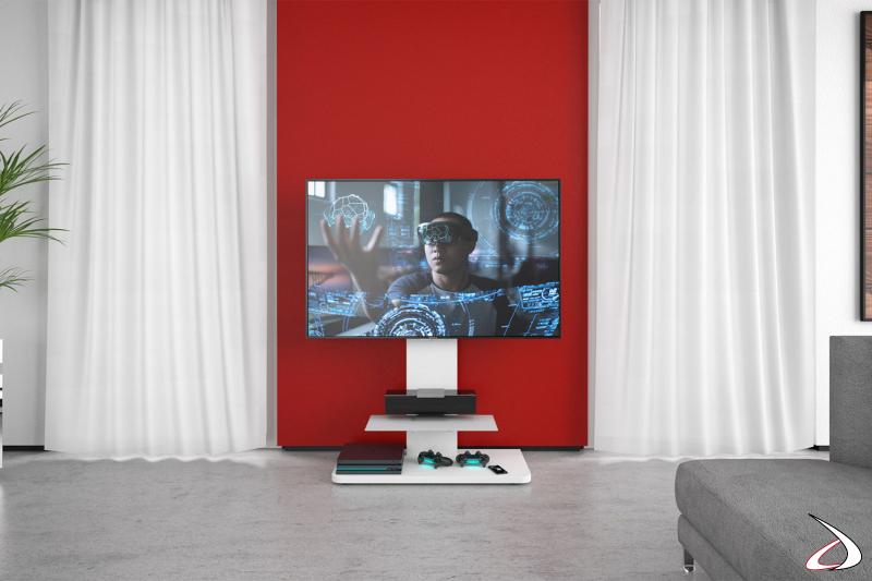 Colonna moderna porta TV con ripiano bianca