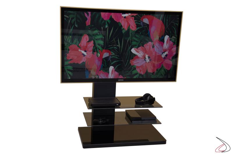 Colonna porta tv in metallo con due ripiani in vetro colore grigio fumè