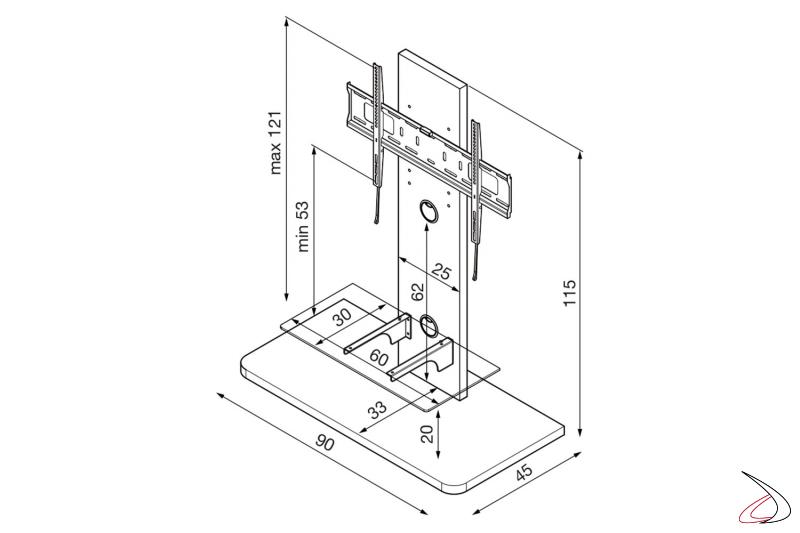 Dettaglio misure colonna porta tv