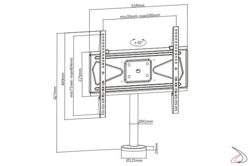 Disegno con misure colonna VESA opzionale