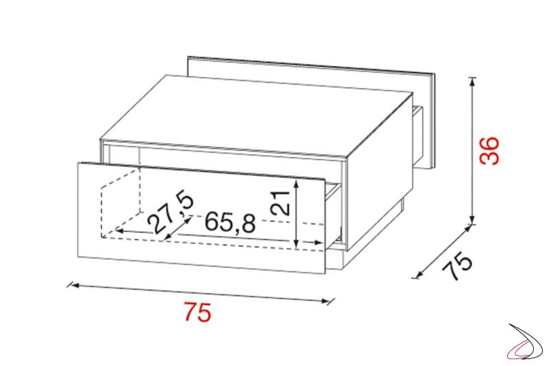 Dettagli misure tavolino salotto in vetro con cassetti e ruote nascoste