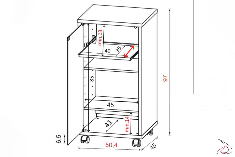 Dettaglio con misure contenitore hi-fi porta tv con ruote