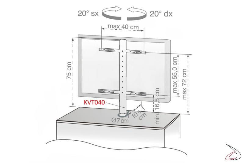 Dettaglio colonna per supporto tv  girevole opzionale
