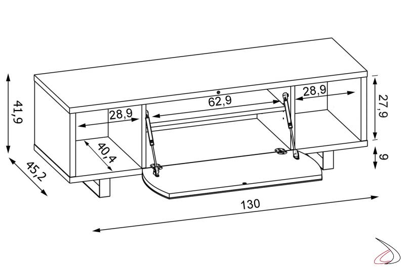 Dettaglio con misure mobile moderno porta tv in legno con anta