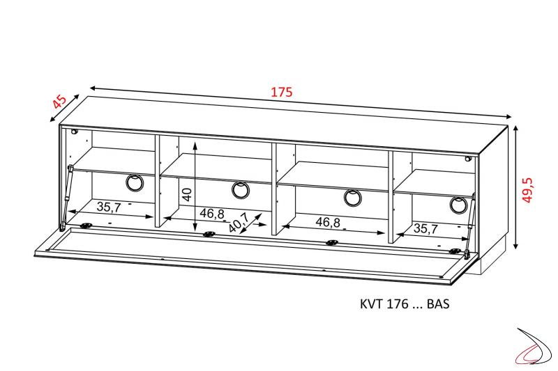 Dettaglio misure mobile porta tv 75 pollici con ruote nascoste e fori passacavi