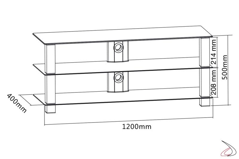 Dettaglio misure porta TV fisso in vetro