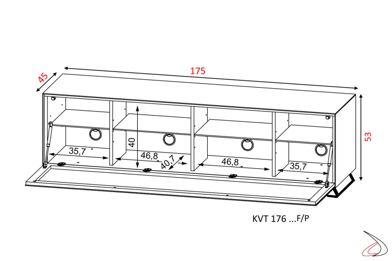 Disegno misure mobile moderno porta tv con piedini di design e anta a ribalta