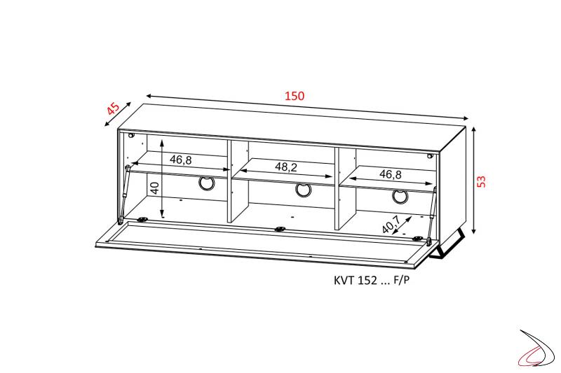 Dettaglio con misure mobile porta tv con piedini in metallo e anta a ribalta