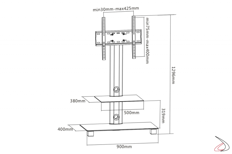 Dettaglio tecnico porta tv fisso con ripiano