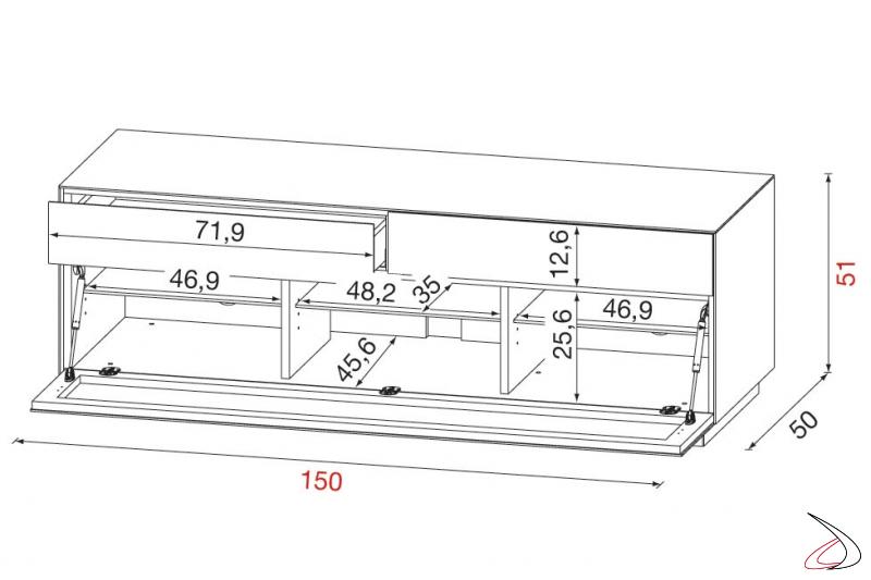 Misure mobile porta tv con cassetti e anta a ribalta