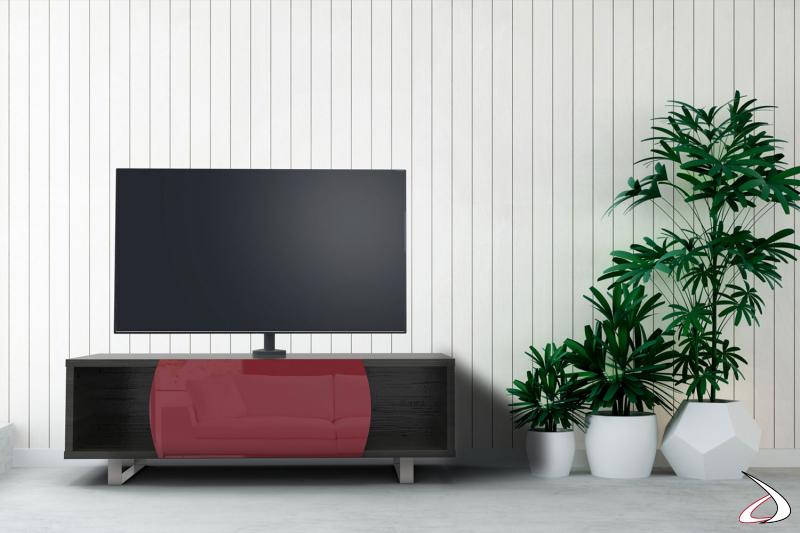 Mobile moderno porta tv in legno con con anta a ribalta