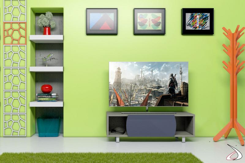 Mobile moderno porta tv in legno chiaro con anta in vetro