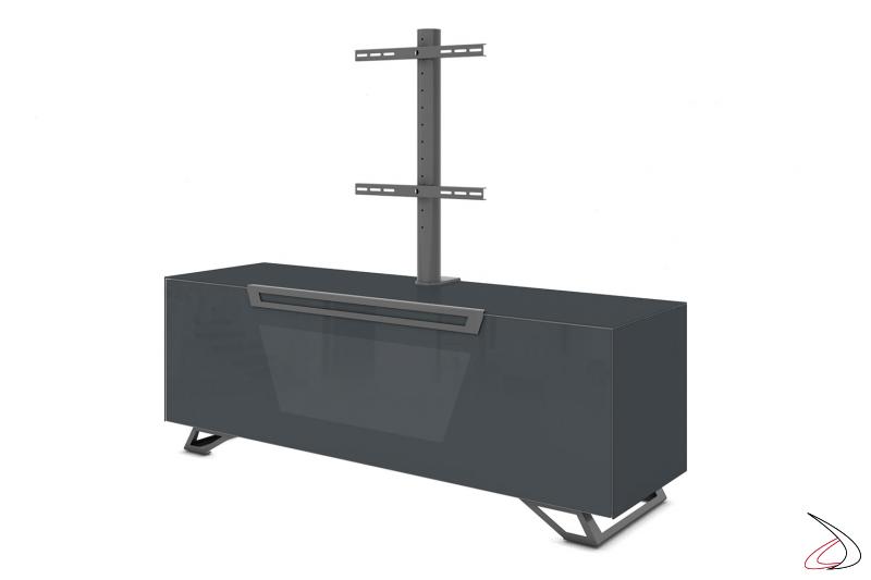 Mobile moderno porta tv grigio scuro con piedini in metallo e opzione colonna per televisore